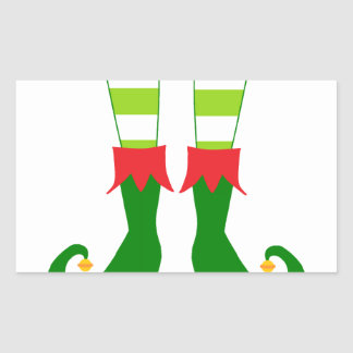 Cute Christmas Elf Feet Rectangular Sticker