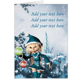 Cute Christmas Elf Greeting Card
