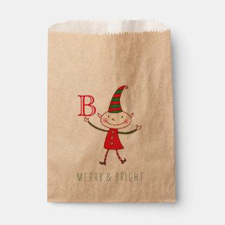 Cute Christmas Elf Monogram Fun Holiday Favor Bag Favour Bags