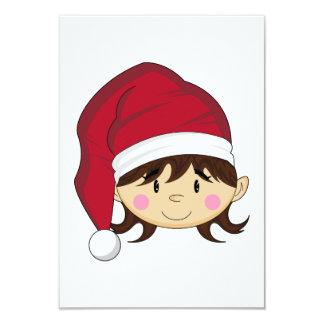 "Cute Christmas Elf RSVP Card 3.5"" X 5"" Invitation Card"