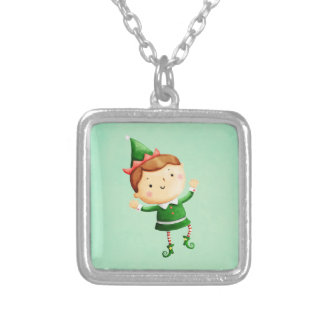 Cute Christmas Elf Silver Plated Necklace