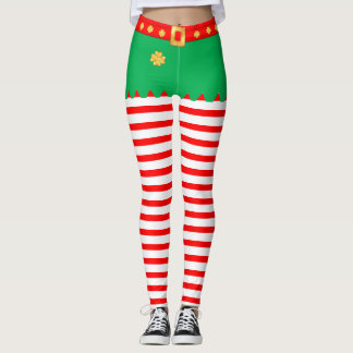 Cute Christmas elf striped Leggings
