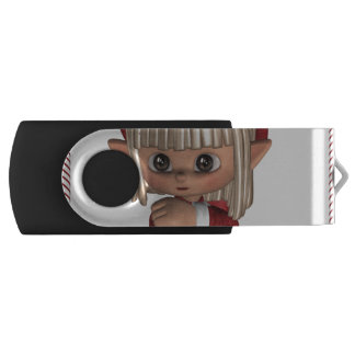 Cute Christmas Elf Swivel USB 2.0 Flash Drive