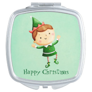 Cute Christmas Elf Travel Mirror