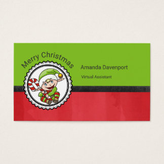 Cute Christmas Elf with Candy Cane Business Card