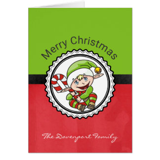 Cute Christmas Elf with Candy Cane Merry Christmas Card