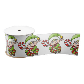 Cute Christmas Elf with Candy Cane Satin Ribbon