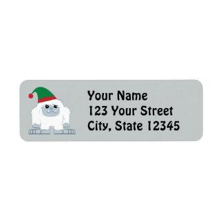 Cute Christmas Elf Yeti Return Address Label