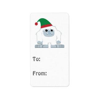 Cute Christmas Elf Yeti Address Label
