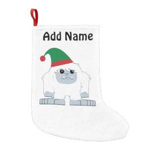 Cute Christmas Elf Yeti Small Christmas Stocking