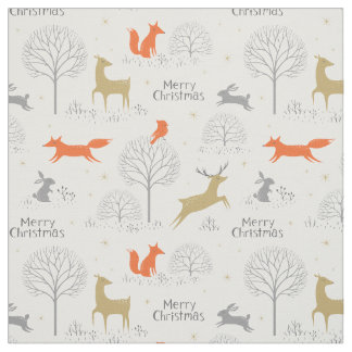 Cute Christmas forest deer rabbit - Xmas gifts Fabric