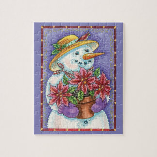 Cute Christmas Girl Snowman with Poinsettia Jigsaw Puzzle