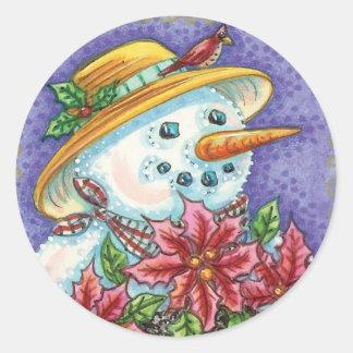 Cute Christmas Girl Snowman with Poinsettia Round Sticker