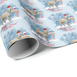 Cute Christmas Goat at North Pole Wrapping Paper
