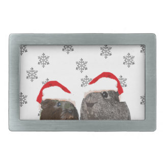 Cute Christmas Guinea pigs in Santa Hats Belt Buckles