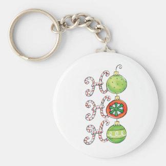Cute Christmas Ho Ho Ho, Candy Canes Ornaments Basic Round Button Key Ring