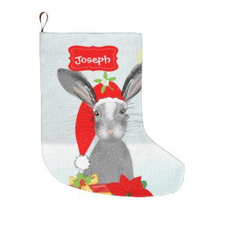 Cute Christmas Holiday Bunny Rabbit Editable Large Christmas Stocking