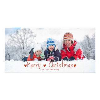 Cute Christmas Holiday Card | Red Personalized Photo Card