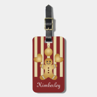 Cute Christmas Holiday Cookie Cartoon Kids Striped Luggage Tag