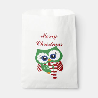 Cute Christmas Holiday Owl Favor Bags Favour Bags