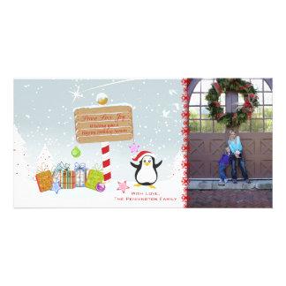 Cute Christmas holiday penguin photocard Photo Card Template