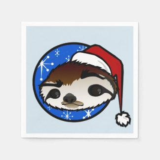 CUTE CHRISTMAS HOLIDAY SANTA SLOTH PAPER NAPKINS