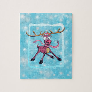 Cute Christmas holidays deer on ice winter cartoon Jigsaw Puzzle