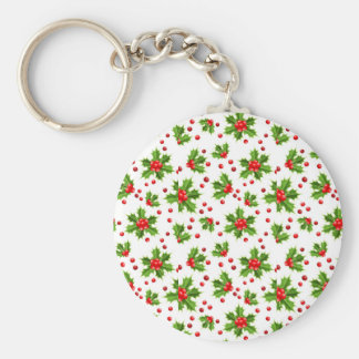 Cute-Christmas-holly and berries Basic Round Button Key Ring