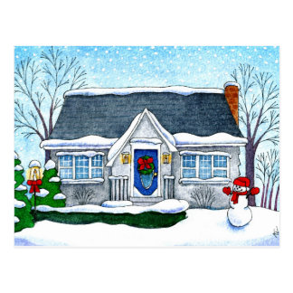 Cute Christmas house, snowman, winter postcard