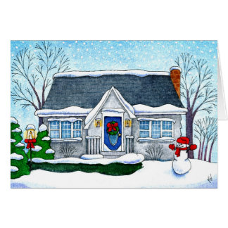 Cute Christmas house with snowman greeting card