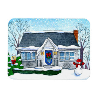 Cute Christmas house with snowman magnet