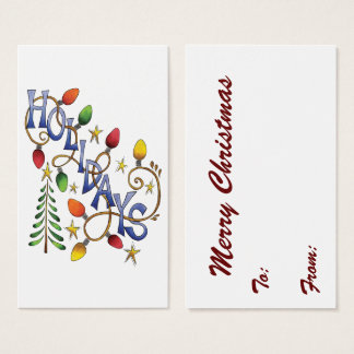 Cute Christmas, Lights and Stars with Holiday Text Business Card