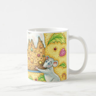 Cute Christmas Mice Carrying a Fruit Cake Dessert Coffee Mug