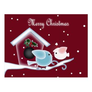 Cute Christmas mistletoe kissing  birds gifts Postcard