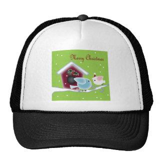 Cute Christmas mistletoe Kissing birds Mesh Hats