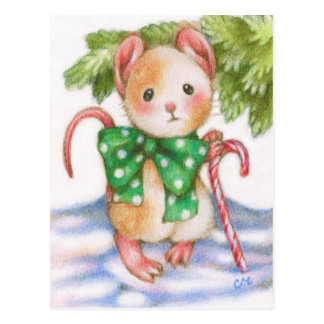 Cute Christmas Mouse Candy Cane Holiday Postcard