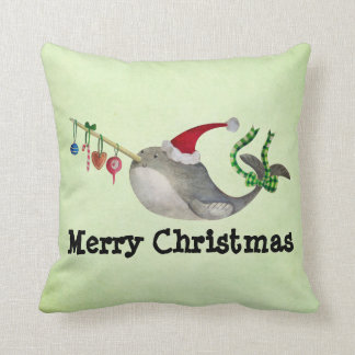 Cute Christmas Narwhal Cushion