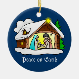 Cute Christmas Nativity Scene Peace on Earth Round Ceramic Decoration