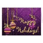 Cute Christmas Ornaments On Retro Purple Damask