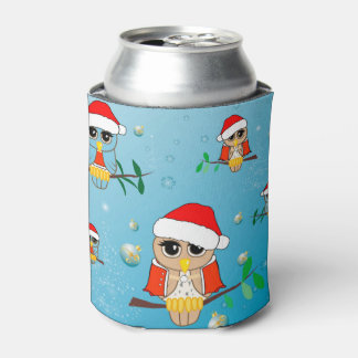 Cute christmas owls can cooler