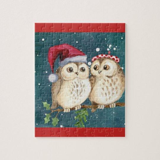 Cute Christmas Owls Jigsaw Puzzle