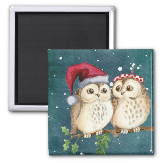 Cute Christmas Owls Magnet
