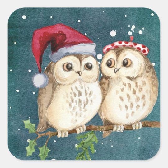 Cute Christmas Owls Square Sticker