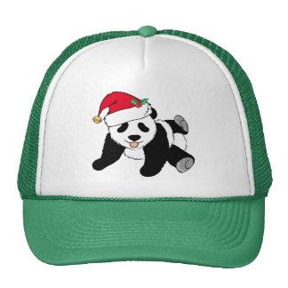 Cute Christmas Panda Bear in Santa Hat