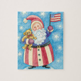 Cute Christmas, Patriotic Santa Claus with Flag Jigsaw Puzzle
