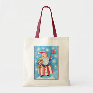 Cute Christmas, Patriotic Santa Claus with Flag Tote Bag