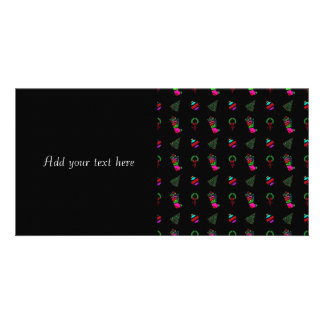 Cute Christmas Pattern on Black Background Personalized Photo Card