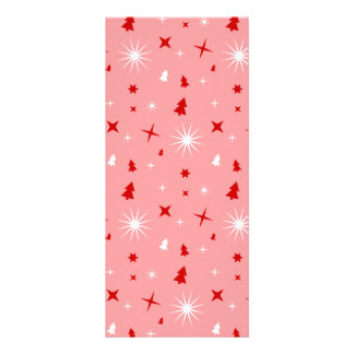 Cute Christmas Pattern Pink White Red Trees Stars Personalized Rack Card
