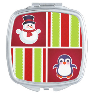 Cute Christmas Pattern With Snowmen And Penguins Vanity Mirror