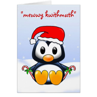 Cute Christmas Penguin Cartoon Card